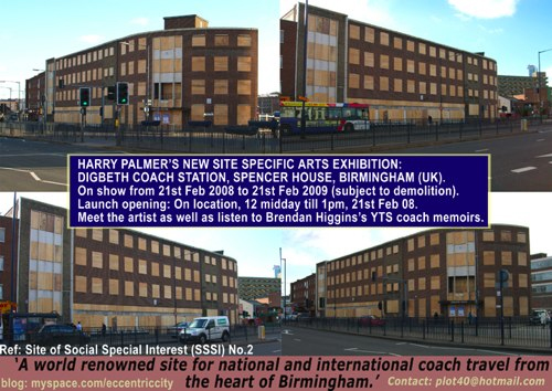Harry Plamer's New Site Specific Arts Exhibition, Digbeth Coach Station, Spencer House, Birmingham - from 21 Feb 12noon