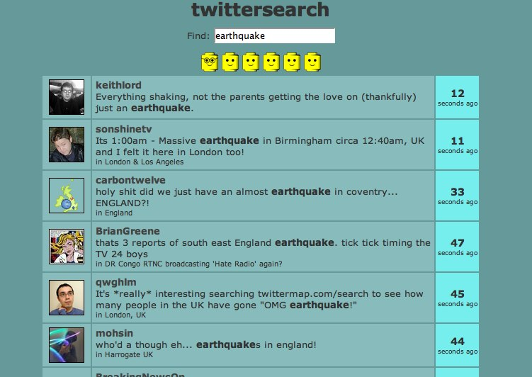 twittersearch for earthquake
